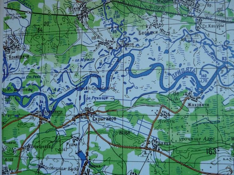 Река Припять на карте