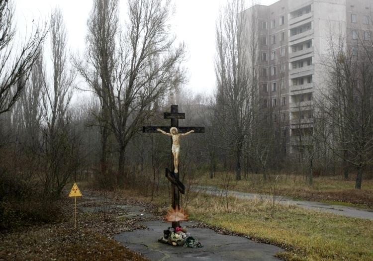 Надгробный крест в Припяти
