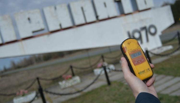 Радиационный фон на въезде в Припять