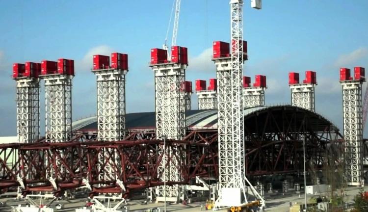 Укрытие ЧАЭС в начале строительства
