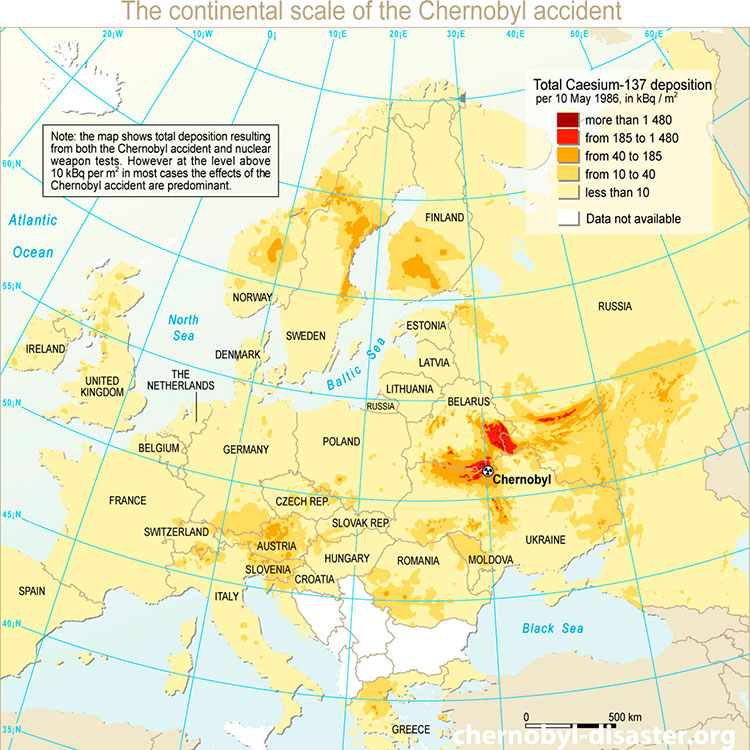 Chernobyl map location and Chernobyl disaster map