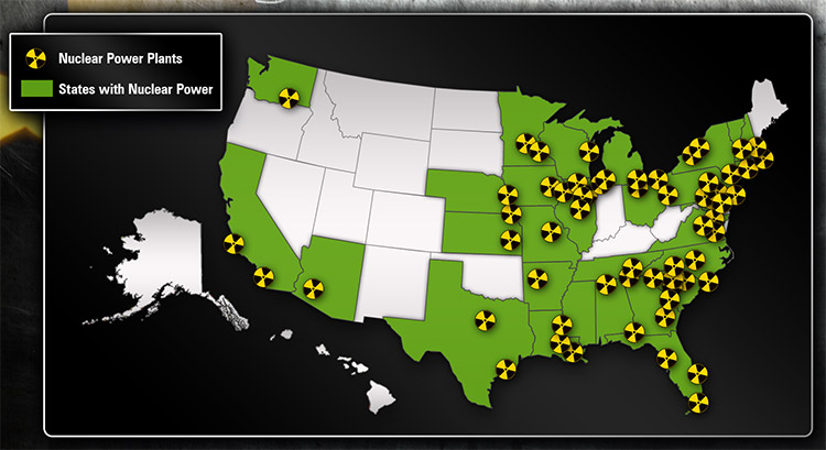 Nuclear Power Plants In US Chernobyl Disaster Guide - Map of nuclear plants in usa