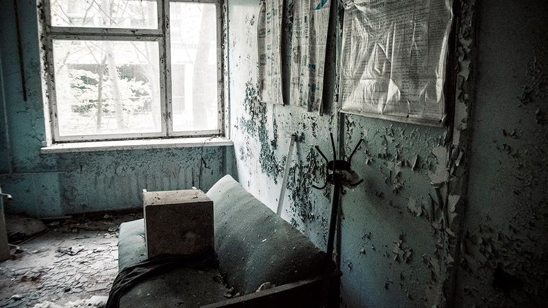 Photo inside the premises of one of the buildings in Chernobyl